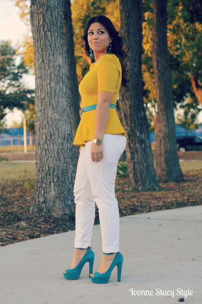 white white jeans Zara jeans - mustard peplum Forever 21 blouse