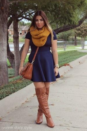 navy Forever 21 skirt - mustard Primark scarf - navy Forever 21 top