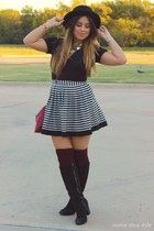 ivory Forever 21 skirt - black Target boots - ruby red Primark purse