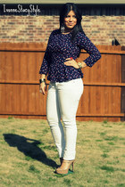 navy H&M top - white Zara jeans - neutral Aldo heels