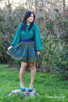 purple Forever 21 skirt - teal Forever 21 top - teal Aldo heels