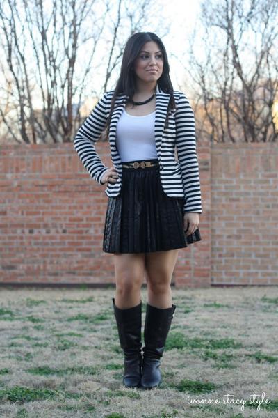 black Steve Madden boots - black Zara blazer - white Forever 21 top