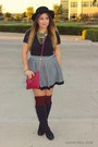 Black-target-boots-ruby-red-primark-purse-ivory-forever-21-skirt
