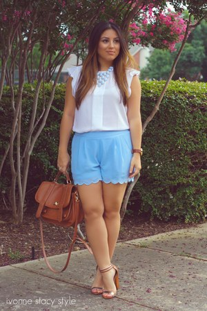 burnt orange Forever 21 bag - sky blue Love Culture shorts
