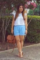 burnt orange Forever 21 bag - sky blue Love Culture shorts