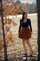 brown circle skirt Forever 21 skirt - brown Aldo shoes - navy Forever 21 top