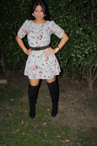 black Forever 21 boots - bubble gum Urban Outfitters dress - heather gray Urban