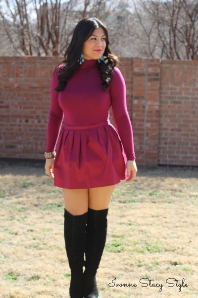 black Forever 21 boots - hot pink Forever 21 skirt - hot pink Forever 21 top