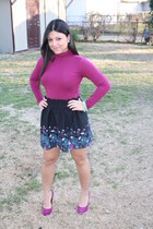 magenta Forever21 top - navy Urban Outfitters skirt - magenta Steve Madden heels