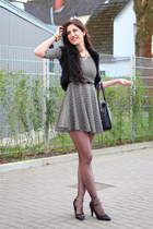 black asos bag - dark gray Choies dress - ruby red Orsay coat