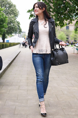 black Vero Moda jacket - black asos bag - black OASAP pumps - beige OASAP blouse
