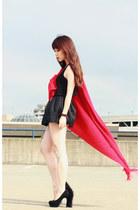 black YSL heels - red scarf