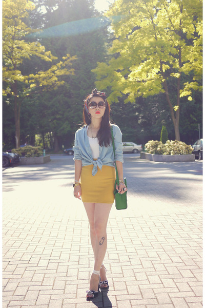 turquoise blue Celine bag - gold BDG skirt - light blue Forever 21 blouse