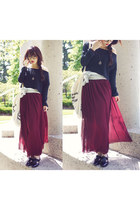 maroon American Apparel skirt - black American Apparel top