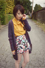 Deep-purple-wilfred-cardigan-orange-vintage-blouse-h-m-skirt-bubble-gum-je