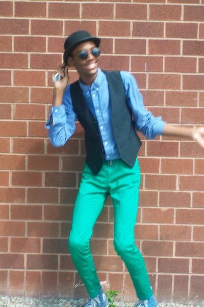 blue green pants - Pi Pants