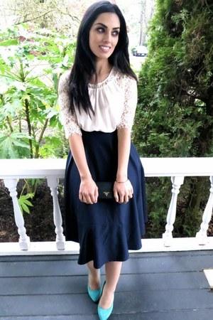 white blouse - blue asos skirt - black Prada wallet