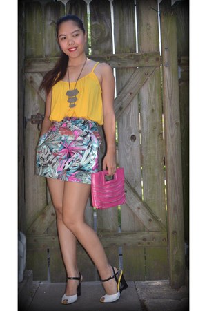 hot pink Francescas Collection purse - turquoise blue IYA skirt - gold Forever 2