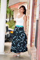 navy maxi skirt - tank Forever 21 top - Aldo sandals