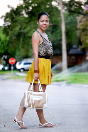 mustard Forever 21 skirt - straw doctors Aldo bag - green floral top