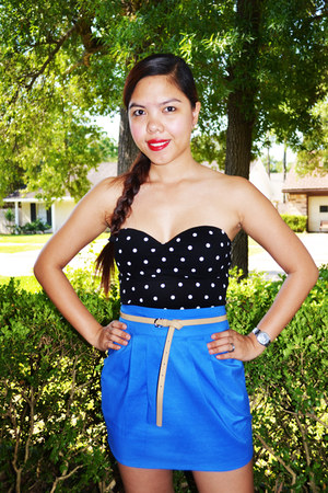 black polka dot tube top - blue IYA skirt - skinny patent Forever 21 belt