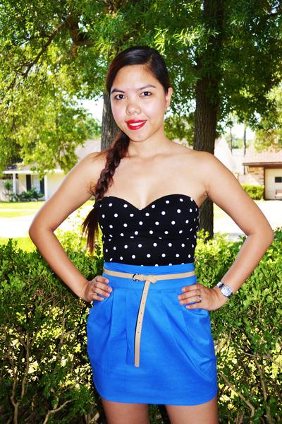d721477d6c black polka dot tube top - blue IYA skirt - skinny patent Forever 21 belt