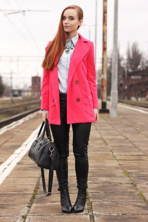 hot pink woolen OASAP coat - black pu OASAP pants - statement OASAP necklace