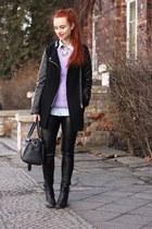 lilac OASAP sweater - pu OASAP pants - bug OASAP necklace