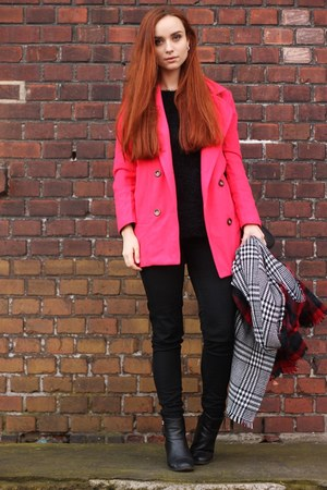 hot pink woolen OASAP coat - big OASAP scarf