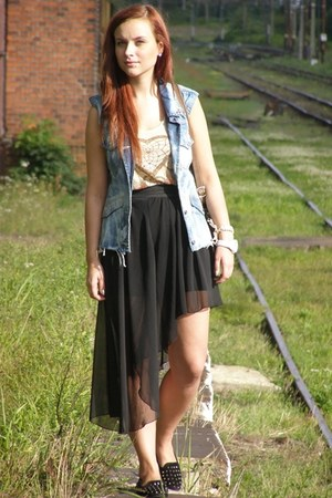 chiffon no name skirt - leather bag no name bag - jeans vest DIY vest