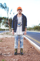 bleached DIY blazer - 8 eye Dr Martens boots - Antifashion hat