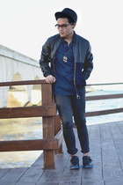 Zara jeans - SoleStruck shoes - fedora Zara hat - bomber River Island jacket