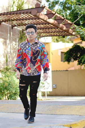 vintage shirt - pull&bear shoes - ripped Zara jeans - round romwe sunglasses