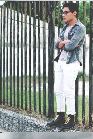 Dr Martens boots - denim Choies dress - Pull and Bear jeans - Choies vest