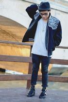 Zara jeans - cut out Choies boots - fedora Zara hat
