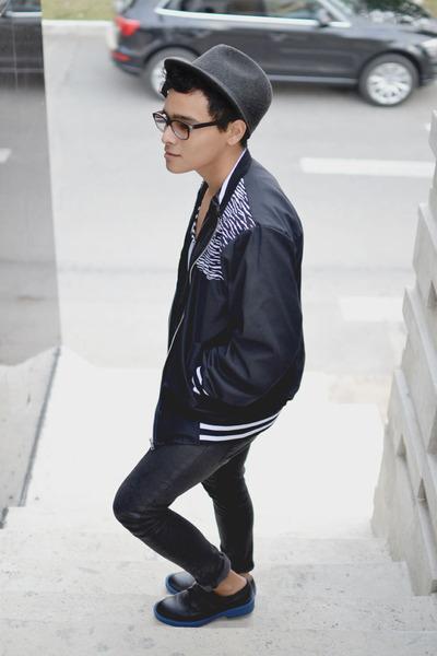 Zara jeans - leather SoleStruck shoes - fedora Zara hat - vintage asos jacket