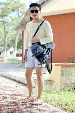 Zara shoes - Zara shirt - Nasty Gal bag - Sfera shorts - zeroUV sunglasses