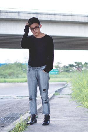 Zara boots - Zara jeans - Tommy Hilfiger sweater - River Island socks