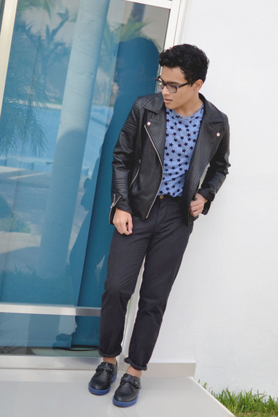 SoleStruck shoes - leather romwe jacket - stars new look shirt