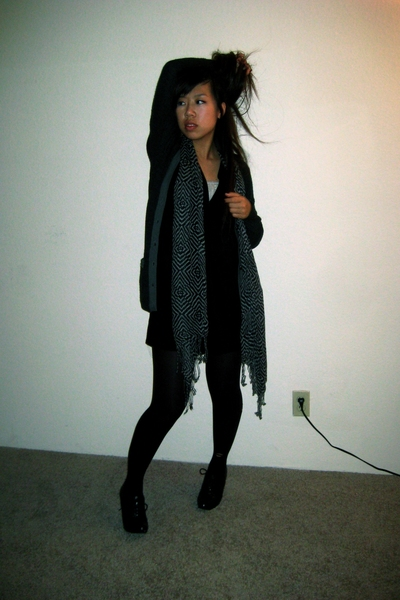 Urban Outfitters dress - sweater - tights - scarf scarf