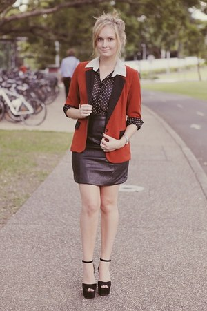 burnt orange Avocado blazer - white Kmart blouse - black vintage skirt