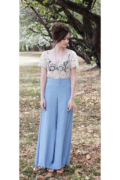 light blue palazzo pants asos pants - beige crochet shirt Ally top