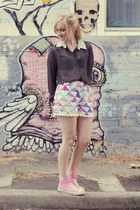 bubble gum Converse sneakers - white sabo skirt shorts - black Kmart blouse