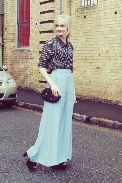 black Kmart blouse - light blue asos pants