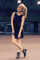 deep purple asos dress - black Jeffrey Campbell boots