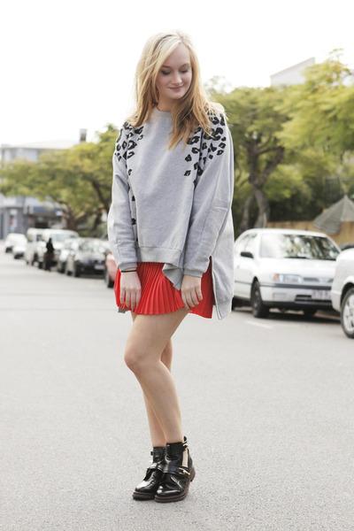 black asos boots - red Beloved skirt - heather gray Arrogant Cat jumper