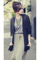 olive green maxi skirt Foxx Foe skirt - heather gray just female top
