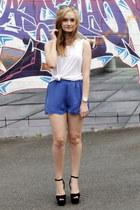 blue Mossman shorts - white cotton on top - black Jeffrey Campbell heels