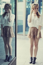 white sabo skirt shirt - black Jeffrey Campbell boots - camel sabo skirt shorts