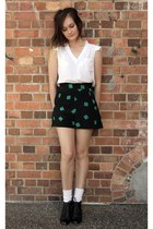 white Paper Scissors top - green square print whistles shorts